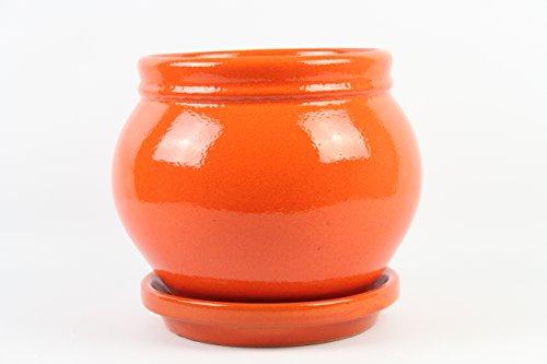 Artesania Roca Pot de fleurs en argile émaillée avec soucoupe. 2 pièces. Très décoratif. Coco diamètre 19 cm x 21 cm hauteur Assiette 20 cm de diamètre x 3,5 cm de hauteur. Fabriqué en Espagne. Orange