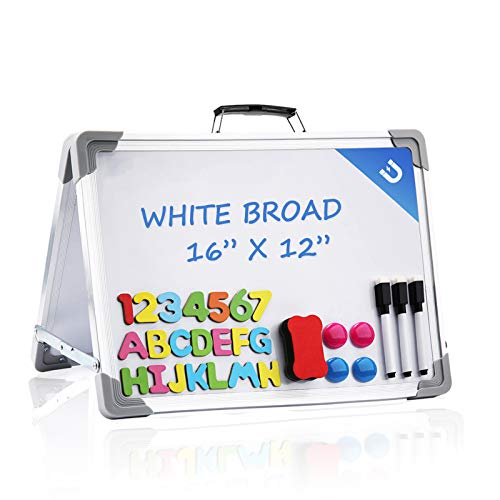 Small Dry Erase White Board,16x12 Inches Foldable Double Sided Portable Magnetic Mini Whiteboard for Kids Students Teacher Office and Home ,School