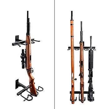 Adoreal Gun Rack Gun Rack Wall Mount for Rifles and Shotguns Rifle Rack - Heavy Duty Steel 3-Slot