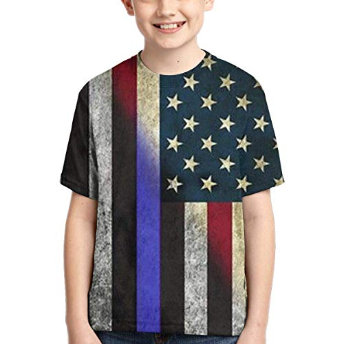 XCNGG Niños Tops Camisetas Youth Short Sleeve T-Shirts Thin Blue Line Kids Casual Graphics Tees