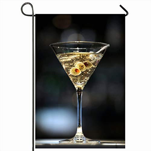 Onete Garden Flag 28x40 Inches with Vodka Shaken Martini On Bar Ice Three Bond Alcohol Olives Miscellaneous Sip Food Drink Cruise Outdoor Seasonal Home Decor Welcome House Yard Banner Sign Flags