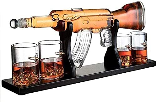 KANGNING 1000ml m16 Pistola Grande decantador Conjunto Bala Gafas Elegante Rifle Whiskey Decanter con 4 Gafas de Whisky de Bala y mohogany Madera Base Grandes Regalos Well