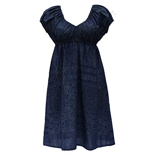 Induswelt Damen Kleider V-Ausschnitt A-Linie Plus Übergrößen Große Größen Umstandskleid blau (XL (46/48))