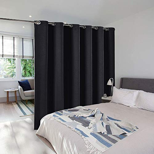 NICETOWN Room Divider Heavy Curtain Screen Partitions, Hide Clutter Separate Functions Grommet Portable Room Divider Screen Curtain Panel for Bedroom (1 Piece, 8ft Tall x 10ft Wide, Black)