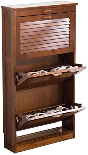 FF Furniture Schoenenkast Bamboekast Kasten met scharnierende deuren Kasten Schoenenkast Schoenenkast Organizer Schoenaccessoires Stofdichte schoenenrek bruin (Kleur: 2 niveaus)