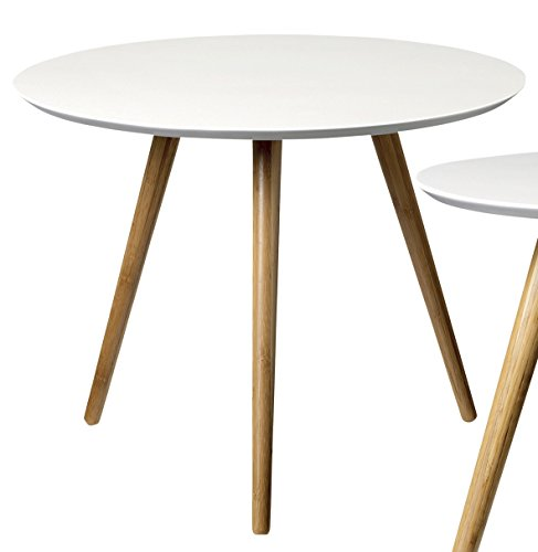Bloomingville Beistelltisch (Coffee Table) skandinavisch Nature/White Ø 59 cm