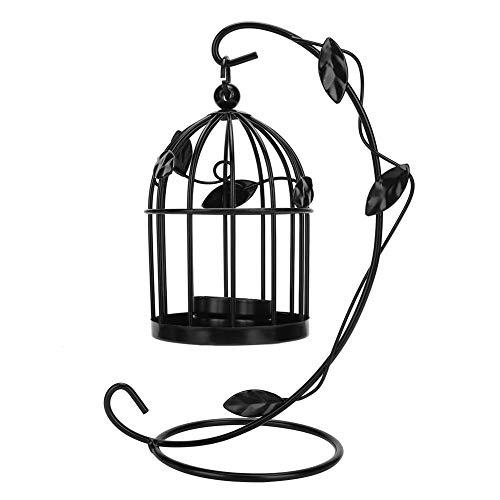 HERCHR Chandelier à Cage à Oiseaux Decorative, Bougeoir en Fer Vintage pour Décoration de Table Mariage(Noir)