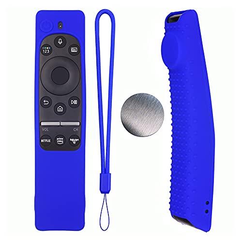 UNIhappy Funda de silicona para mando a distancia con cordón para Samsung BN59 (azul)