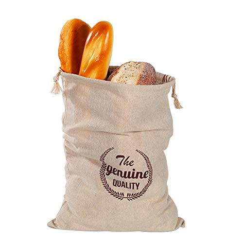 Sac à pain en lin avec cordon de serrage - Réutilisable - Pour le pain, les fruits et les légumes