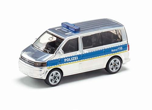siku 1350, Polizei-Mannschaftswagen, Metall/Kunststoff, Silber, Öffenbare Heckklappe, Anhängerkupplung