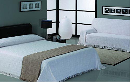 HIPERMANTA Colcha Foulard Multiusos Cuadros para sofá y para Cama, Algodón-Poliéster, 230x260 cms. Gris Claro
