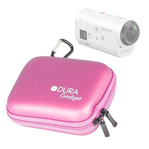 DURAGADGET Etui Housse Rigide Rose avec Attache pour caméra embarquée Sony AZ1VR Action Cam Mini with Wi-FI