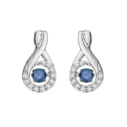 Moda pendientes de diamante con centro de azul Dancing diamante en 14K oro blanco (3/8quilates)