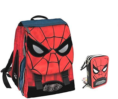 ZAINO uomo ragno spiderman estensibile + astuccio 3 piani completo + portachiave...