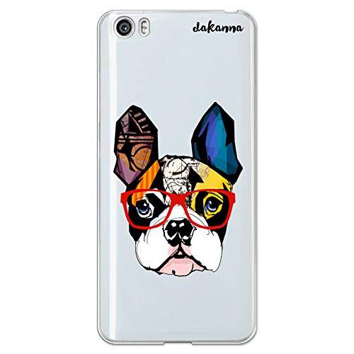 dakanna Funda para [ Xiaomi Mi5 / Mi 5 ] de Silicona Flexible, Dibujo Diseño [ Bulldog Frances con Gafas Estilo Comic ], Color [Fondo Transparente] Carcasa Case Cover de Gel TPU para Smartphone