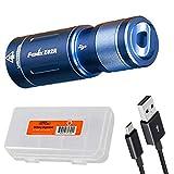 Fenix E02R Blue 200 Lumen Mini USB Rechargeable EDC Keychain Flashlight with LumenTac Battery Case