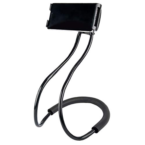 Universal Smart Mobile Phone Stand,Hanging on Neck Cell Phone Mount Holder, Flexible Lazy Bracket DIY Free Rotating for Multiple Functions (Black)