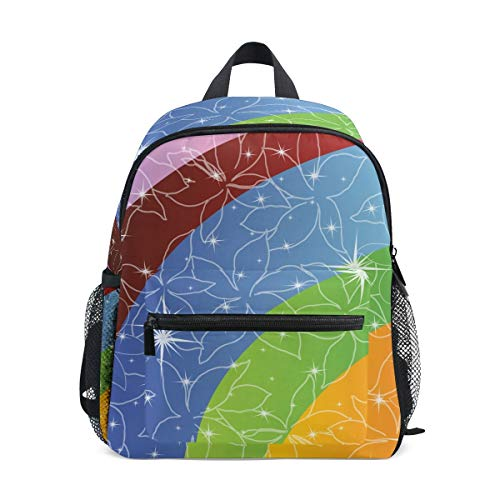 Color Flower Toddler Backpack Bookbag Mini Shoulder Bag for 1-6 Years Travel Boys Girls Kids with Chest Strap Clip Whistle