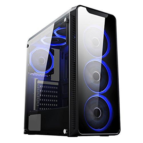 CiT Blaze Gaming-Gehäuse mit 6x Lüfter mit je einem blauen Ring und einem Fenster aus gehärtetem Glas an der Seite–schwarz