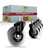 SCHUSTAR USE®, set di ruote per pavimenti duri [5], adatte a tutti i pavimenti, ruote silenziose per sedie da ufficio, [2] varianti 10 mm
