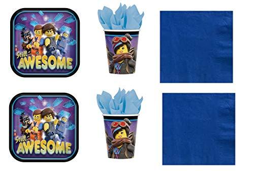 Party Store web by casa dolce casa Lego Movie - Kit n° 9 CDC-(32 Assiettes, 32 Verres, 50 Serviettes 33 x 33 cm de Couleur Bleue)