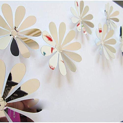 Siamrose DIY 3D Espejo Pegatinas de Pared Agradable decoración del hogar Flores Etiqueta decoración 8 Colores Calidad LTLNB