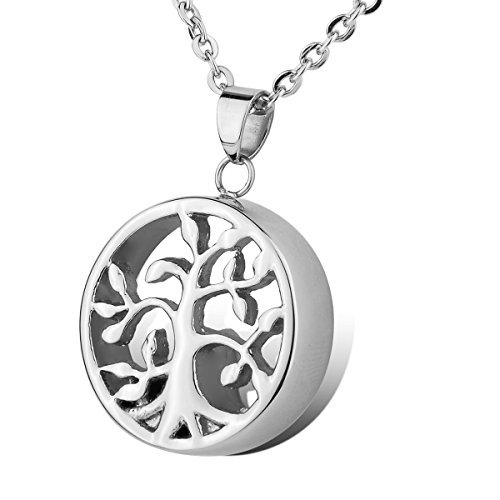 HOUSWEETY Cremation Jewellery Stainless Steel Tree of Life Charm Urn Pendant Necklace - Memorial Ash Keepsake