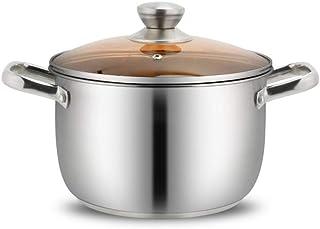 Olla JXLBB Acero Inoxidable pequeña Caliente Doble Oreja Hogar Cocina de inducción Engrosamiento Gas