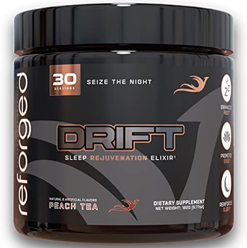 Reforged Drift | Nootropic Sleep Aid | Stress & Anxiety Relief Drink Mix w/Melatonin, L-Glycine, L-Theanine, Magnesium Glycinate & Lemon Balm | Zero Calorie, Peach Tea, 30 Servings