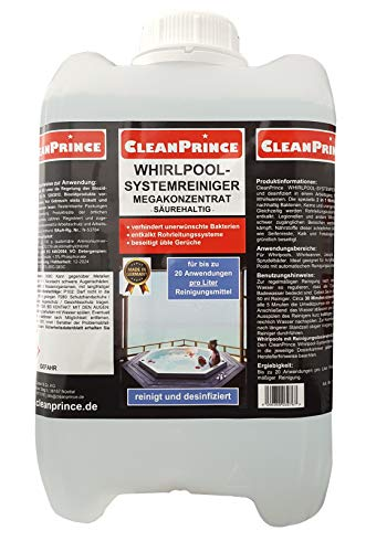 5 Liter Whirlpoolreiniger | Megakonzentrat Whirlpool Reiniger Whirlpoolsystemreiniger Reinigungsmittel Systemreiniger Jacuzzi Sprudelbad Sprudelbäder Wellnessbad Badesprudler Whirlpools Whirlwannen Wannen Wannensysteme - für bis zu 100 Anwendungen ausreichend - verhindert unerwünschte Bakterien, verhindert Kalkablagerungen, beseitigt üble Gerüche, säurehaltig, ideal für Acrylflächen, auch für Pool / Pools mit automatischem Reinigungssystem