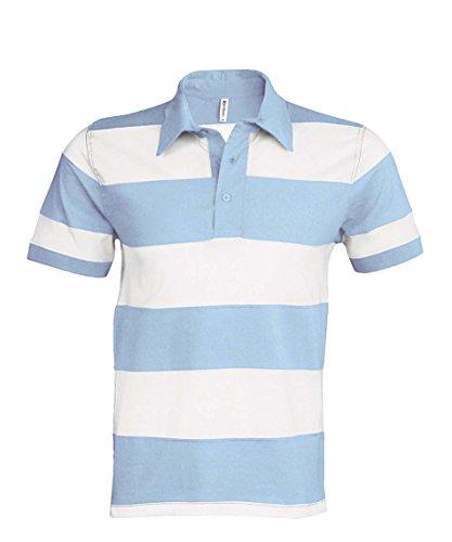 Kariban K237 - Polo Rugby Manches Courtes - K237 - Homme (L, Blanc rayé Bleu Ciel)