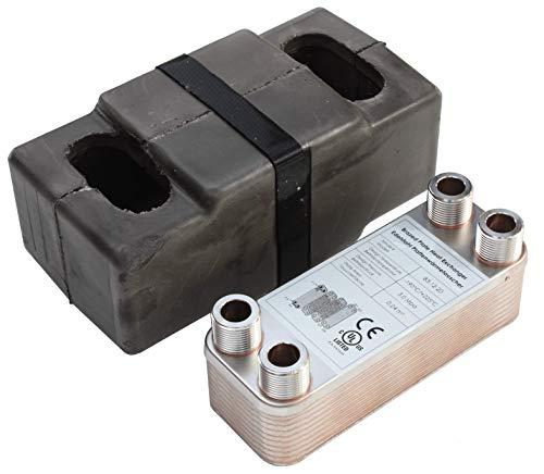 Edelstahl Plattenwärmetauscher + Isolation B3-12-20 mit 4x3/4 Zoll Anschl. 45kW Heizung Solar (PWT+Iso)