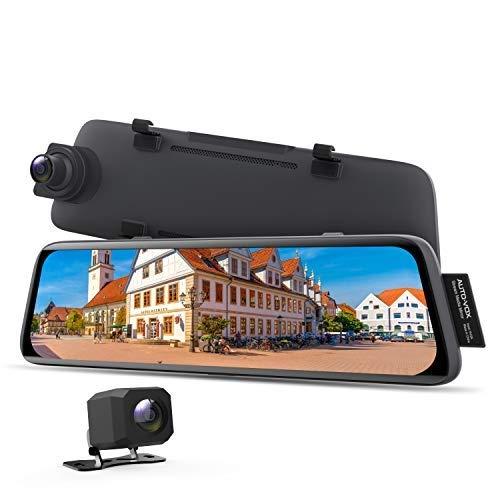 AUTO-VOX V5 Spiegel Dashcam 1080P Dual Dashcam Vorne Hinten mit GPS-Tracking, Nachtsicht, Parkmodus, 9.35 Zoll Full-Touchscreen Rückspiegel mit Rückfahrkamera