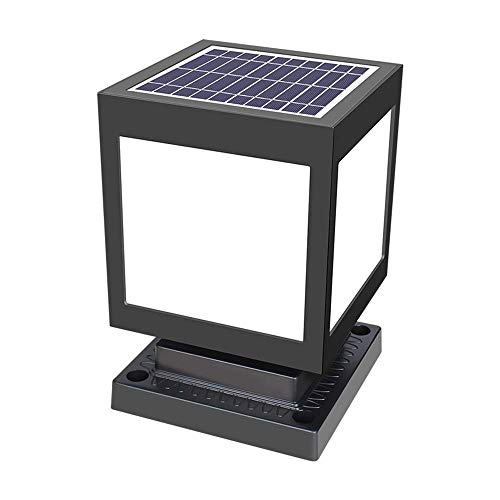 Wall lamp, Creative LED Square Post Cap Light Solar Modern Garden Lamp Post Solar Waterproof Wooden Posts Deck Posts Deck Patio Square Black Landscape Lighting,20.5 * 20.5 * 25cm/Warm Light