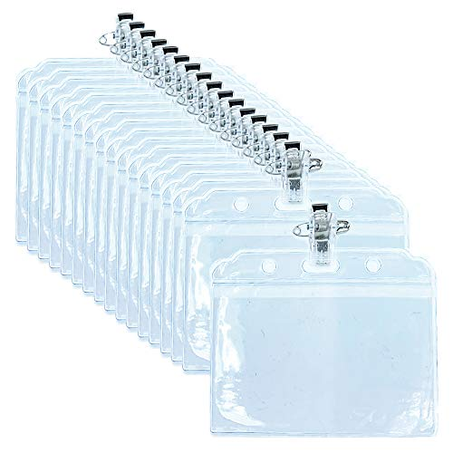 50 Tarjetas de Identificación con Clip, Porta Tarjetas de Plástico Impermeable, Plástico Transparente, para Tarjetas De Identificación, Insignias, Tarjetas (3.15 x 3.86 in)