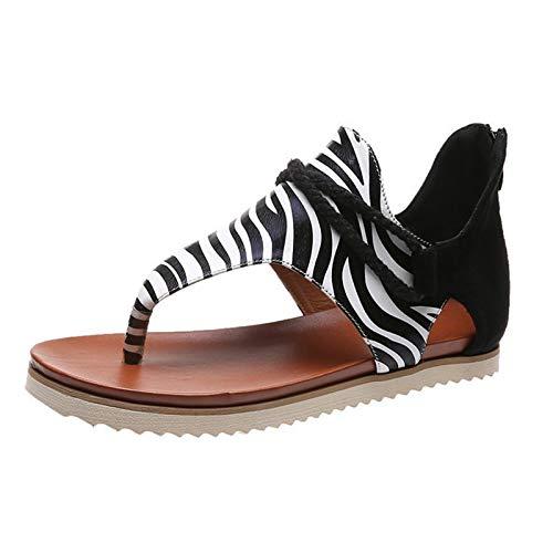 Damen Sandalen Drucken Retro Bequeme Flache Beach Strandsandale Peep Toe Zehentrenner Sommer Sandals Freizeitschuhe(3-Schwarz/Black,36) 866