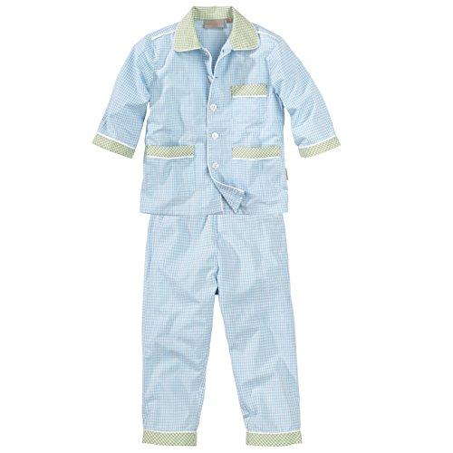wellyou, Kinder-Schlafanzug, gewebt, lang, für Jungen, in blau/grün