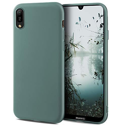 Moozy Minimalist Series Silikon Hülle für Huawei Y6 2019, Blau Grau - Mattes Finish, Dünne, Weiche TPU-Handyhülle Schutzhülle
