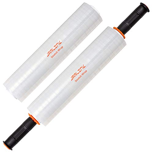 JARLINK 2 Pack Stretch Wrap, 15 Inches Shrink Wrap for Pallet Wrap, Moving Wrapping Plastic Roll, Industrial Strength Stretch Film with Handles, 1000 Feet, 60 Gauge