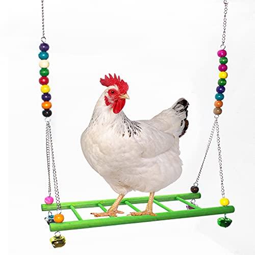 Giocattoli per galline giocattolo per galline in legno naturale, posatoio per galline, accessori per pollaio per uccelli grandi, pappagalli, polli e ashi.