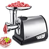 Electric Meat Grinder Stainless Steel Meat Mincer & Sausage Stuffer with 3 Grinding Plates,Sausage & Kubbe Attachments Easy Operation for Kitchen Home