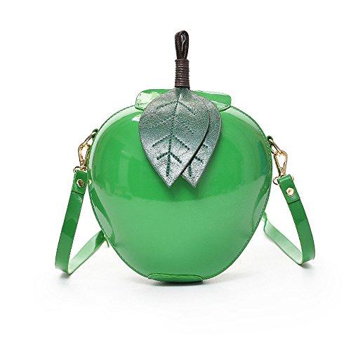 Vi. yo-Leder, mit Apfel-Form mit Schultertasche-Handtasche für Mädchen, PU, grün, S