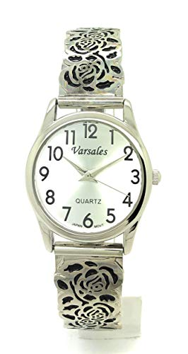 Ladies Elegant Floral Flower Stretch Elastic Band Fashion Watch Versales (Silver)