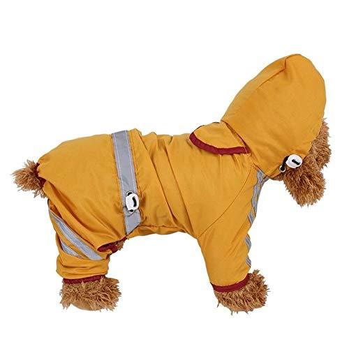 Qiuge Pet Raincoat Wasserdicht Warm Doppelseitige Hundemantel dicken Thick bequemen Winter Hund mit Kapuze Regenmantel, Reflektierende Schutzhunde □□ Jacke, Größe: M (Gelb) (Color : Yellow)