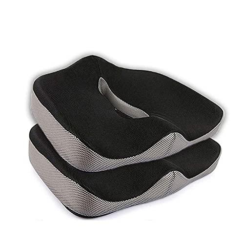 Chair Cushion Back Cushion Seat Cushions - Memory Foam Chair Pedic Pillow Office Seat Pad Hemorrhoid Treat Car Seat Big Cushion Relief Pain Bone Pillow Health Durable (Color : Black Mesh)