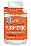 Turmeric Curcumin Capsules, Qunol with Ultra High Absorption 1500mg, Joint Support, Dietary Supplement, Extra Strength, 180 Vegetarian Capsules