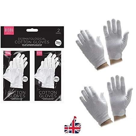 SOS-Handschuhe, 100 % Baumwolle, weich, dünn, für Schmuck, Inspektion, Arbeit mit SOS, 2 Paar Baumwollhandschuhe