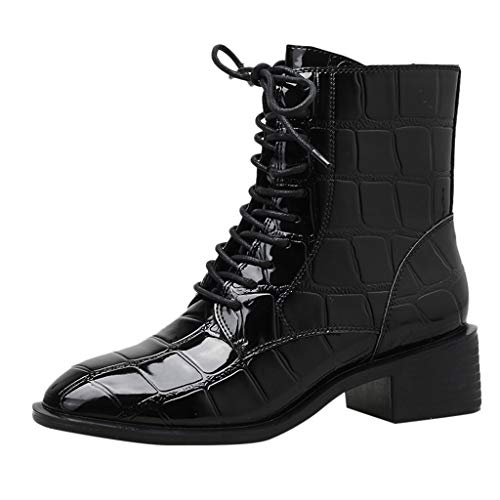 TWISFER Damen Stiefel mit Blockabsatz Short Boot Cross Square High Heel Schnürstiefel Mode Side Zipper Bare Boots Stiefeletten Lackleder mit Krokodilleder Effekt