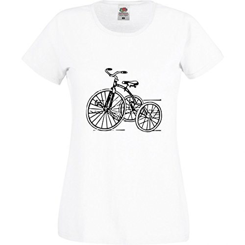 T-Shirt Dreirad- Jahrgang- Retro- Spielzeug- Kindheit- ZYKLUS- ANTIK- Trike- Nostalgie- FAHRT in Weiss für Herren- Damen- Kinder- 104-5XL