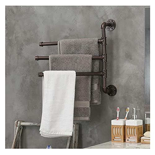 GJXJY Industrial Pipe Design Towel Rail Rack, Barra de Toalla de Aluminio Espacial 3-Bar Brazo Swivel Hanger Baño Storage Organizer de Montado en la Pared para Cocina Hogar